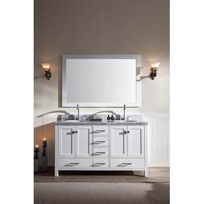 Marine 61 Double Bathroom Vanity Set with Mirror Base Finish: White