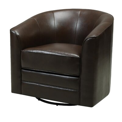 Morefield Swivel Barrel Chair Upholstery: Dark Brown