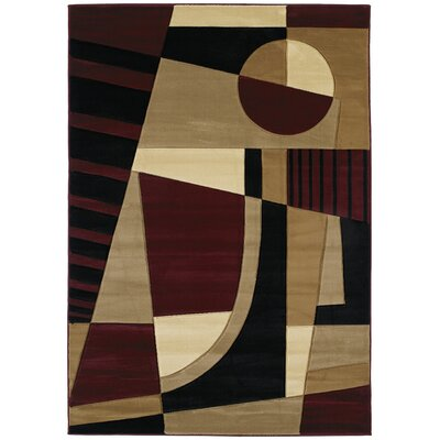 Ganley Urban Angles Burgundy Rug Rug Size: Rectangle 110 x 3