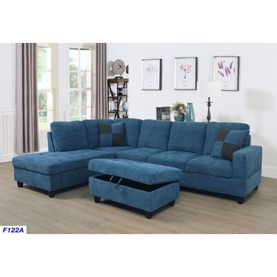 Russ Sectional with Ottoman Upholstery: Ocean Blue, Orientation: Left Hand Facing