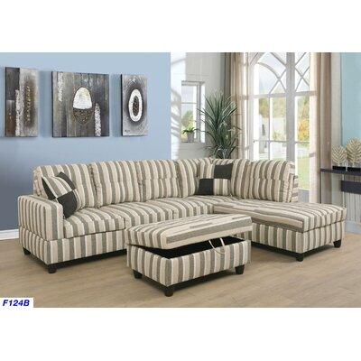 Russ Sectional with Ottoman Upholstery: Multi Color, Orientation: Right Hand Facing