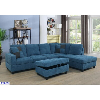 Russ Sectional with Ottoman Upholstery: Ocean Blue, Orientation: Right Hand Facing