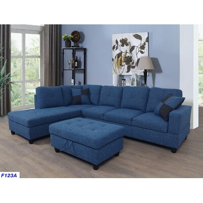 Russ Sectional with Ottoman Upholstery: Blue Jeans, Orientation: Left Hand Facing