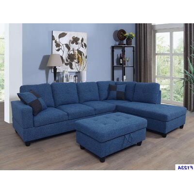Russ Sectional with Ottoman Upholstery: Blue Jeans, Orientation: Right Hand Facing