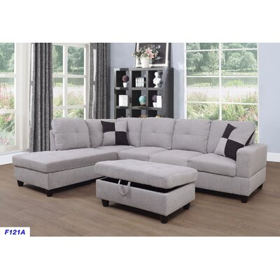 Russ Sectional with Ottoman Upholstery: Beige, Orientation: Left Hand Facing