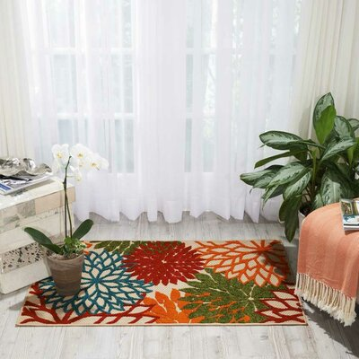 Goldhorn Red Indoor/Outdoor Area Rug Rug Size: Rectangle 36 x 56