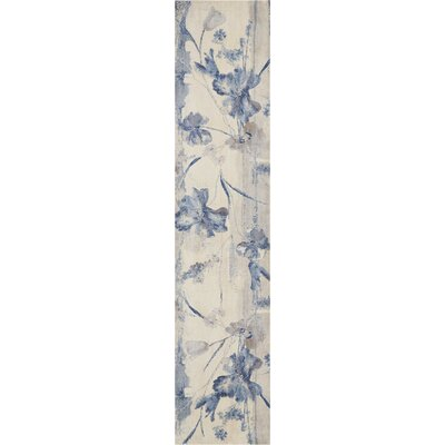Smithtown Ivory/Blue Area Rug Rug Size: Runner 2 x 8