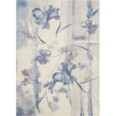 Smithtown Ivory/Blue Area Rug Rug Size: Rectangle 36 x 56