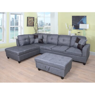 Russ Sectional with Ottoman Upholstery: Gray, Orientation: Left Hand Facing