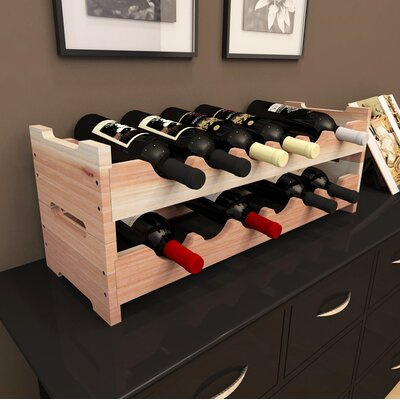 Mangels Redwood Mini Scalloped 12 Bottle Tabletop Wine Rack Finish: Natural