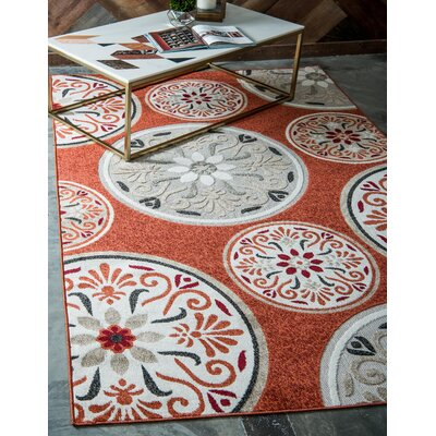 Niagara Orange/Beige Indoor/Outdoor Area Rug Rug Size: Rectangle 9 x 12