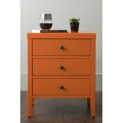 Rushville 3 Drawer Nightstand Color: Orange