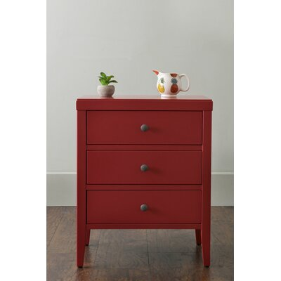 Rushville 3 Drawer Nightstand Color: Red