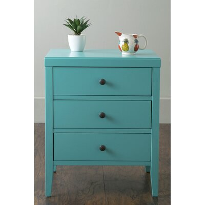 Rushville 3 Drawer Nightstand Color: Turquoise