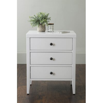 Rushville 3 Drawer Nightstand Color: White