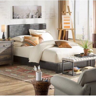 Erna Queen Upholstered Panel Bed Color: Black