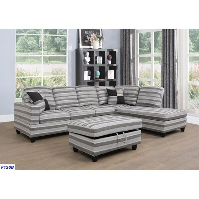 Russ Sectional with Ottoman Upholstery: Gray Stripes, Orientation: Right Hand Facing