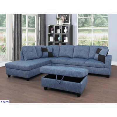 Russ Sectional with Ottoman Upholstery: Light Blue Jeans, Orientation: Left Hand Facing