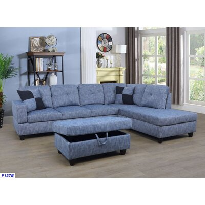 Russ Sectional with Ottoman Upholstery: Light Blue Jeans, Orientation: Right Hand Facing