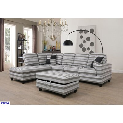 Russ Sectional with Ottoman Upholstery: Gray Stripes, Orientation: Left Hand Facing