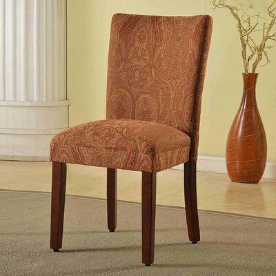 Tenbury Classic Upholstered Parsons Chair Upholstery: Red/Gold