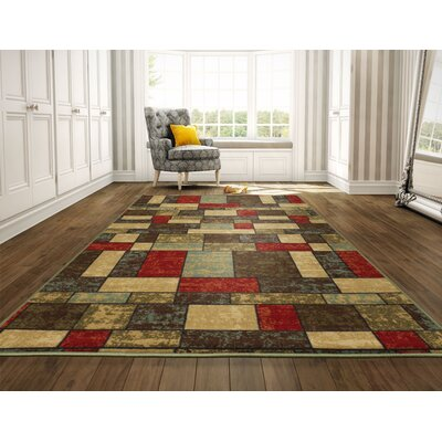Galesburg Brown/Red Area Rug Rug Size: 5 x 7