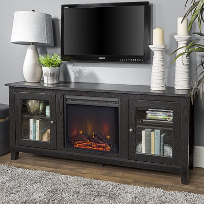 Inglenook 58 TV Stand with Fireplace Finish: Black