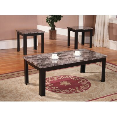 Cecil Marble Top 3 Piece Coffee Table Set Color: Black and Charcoal