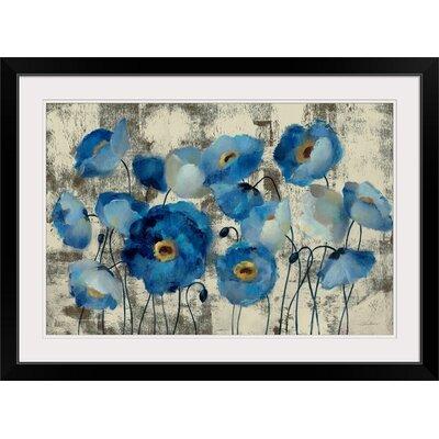 "'Aquamarine Floral' Print Size: 17"" H x 23"" W x 1"" D, Format: Black Framed 6FB293D2585740EFA07D92B2EFA158D4"