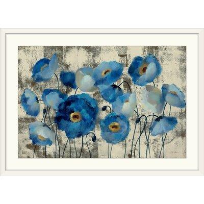 """'Aquamarine Floral' Print Size: 21"""" H x 29"""" W x 1"""" D, Format: White Framed 592D0AE1C2714D1FACA5AEA029C98EF9"""