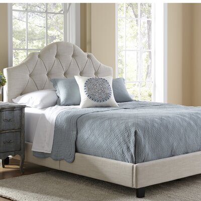 Anselmo Upholstered Panel Bed Color: Beige, Size: King