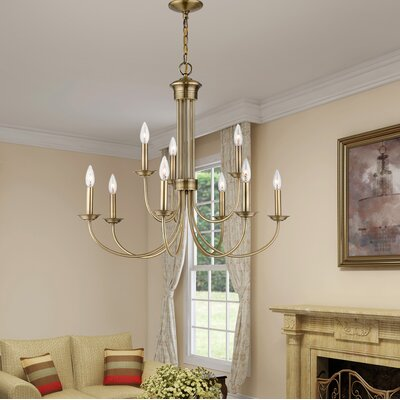 Lakemoor 9-Light Candle-Style Chandelier Finish: Antique Brass