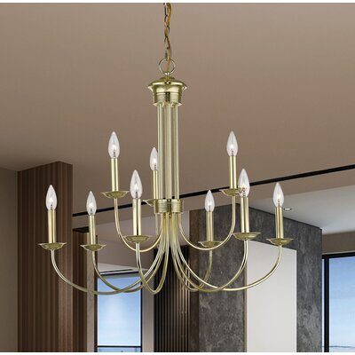 Lakemoor 9-Light Candle-Style Chandelier Finish: Polished Brass