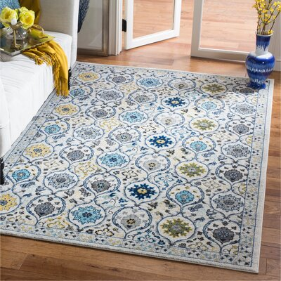 Aegean Ivory/Blue Area Rug Rug Size: Rectangle 51 x 76
