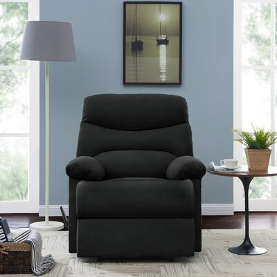 Millicent Chaise Manual Wall Hugger Recliner Upholstery: Black