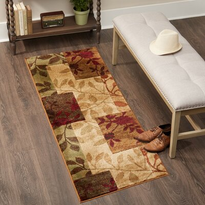 Raffin Beige/Brown Leaves Area Rug Rug Size: Runner 22 x 14