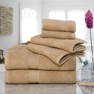 Stonington 100% Cotton 6 Piece Bath Towel Set Color: Taupe