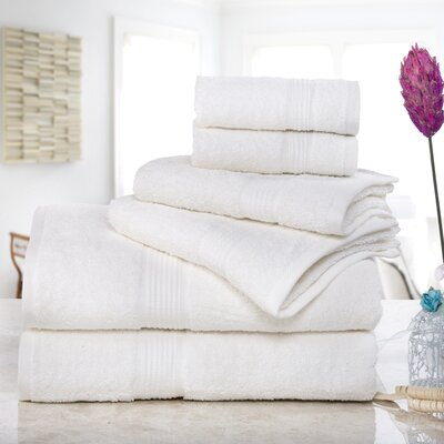 Stonington 100% Cotton 6 Piece Bath Towel Set Color: Ivory