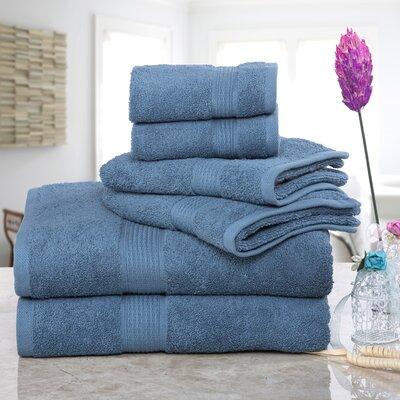 Stonington 100% Cotton 6 Piece Bath Towel Set Color: Denim
