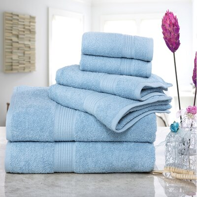 Stonington 100% Cotton 6 Piece Bath Towel Set Color: Blue