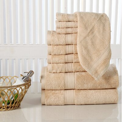 10 Piece Towel Set Color: Beige