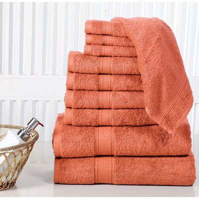 10 Piece Towel Set Color: Rust