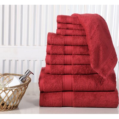 10 Piece Towel Set Color: Biking Red
