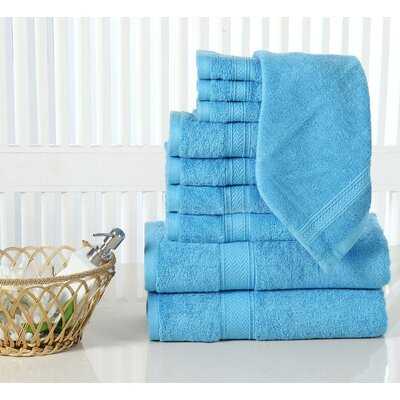 10 Piece Towel Set Color: Sea Blue