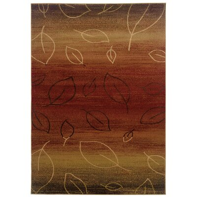 Strickland Cherry/Light Brown Area Rug Rug Size: 53 x 75