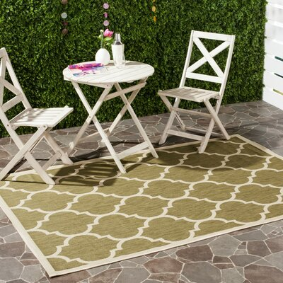 Short Green/Beige Indoor/Outdoor Area Rug Rug Size: Rectangle 67 x 96