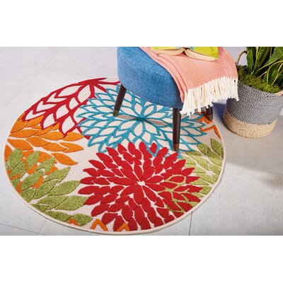 Goldhorn Red Indoor/Outdoor Area Rug Rug Size: Round 4