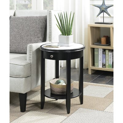 Haines End Table with Storage Finish: Black