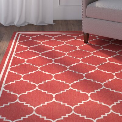 Short Red/Beige Indoor/Outdoor Area Rug Rug Size: Rectangle 67 x 96