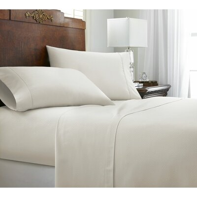 Dollard Double-Brushed Chevron Sheet Set Size: Queen, Color: Ivory